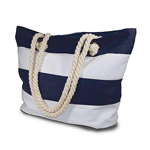 Beach Tasche mit Innenfach mit Reißverschluss Mittelgroße bis große Mesh gestreift Baumwolle Tasche und Bonus Handy Dry Bag
