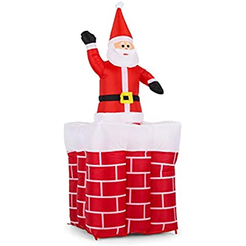 oneConcept Merry Surprise decorazione natalizia Babbo Natale gonfiabile (larghezza 180cm, illuminazione con LED integrati, ventilatore (Babbo Neve Natale)