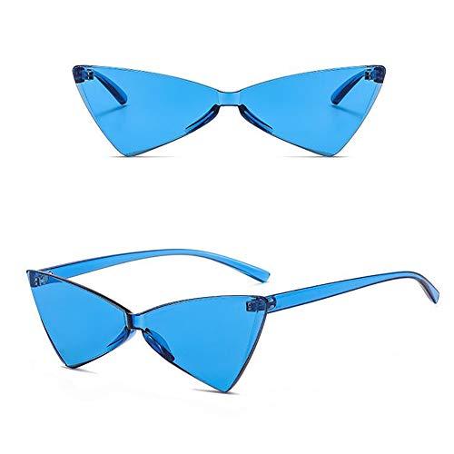 MMCP Randlose Sonnenbrillen für Frauen, Triangel Cat Eye Sonnenbrillen Bonbonfarben Brillen für Shopping Golf Driving Reisen Dicke Scheiben Polarisierte Brillen,9