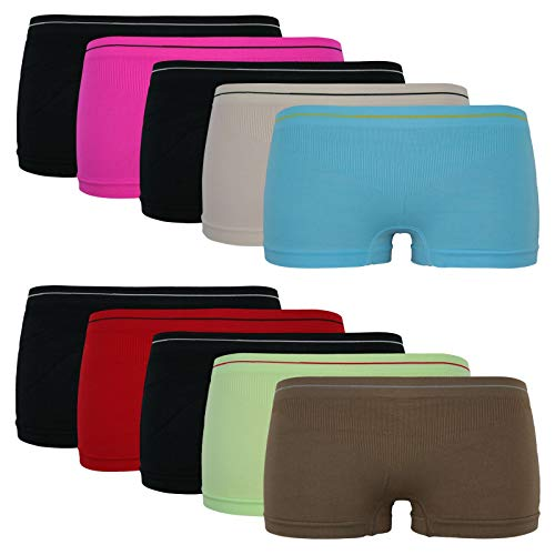 10er Pack Damen Hot Pants Pantys Retro Shorts Sport Unterwäsche Basic Microfaser, Größe:L-XL = 40/42