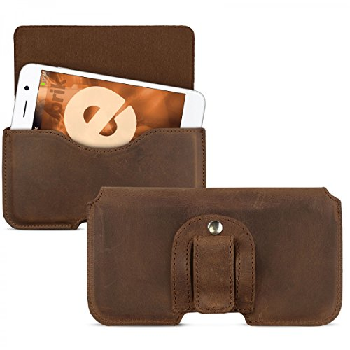 ROYALZ Gürteltasche für Smartphones 4 - 5,5 Zoll Schutztasche Leder Hülle Handy Ledertasche Universal Tasche Case braun