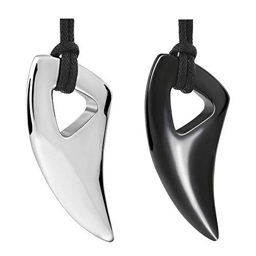 Edelstahl Lange Halskette Wolf Zahn Kreuz Ketten Anhänger Herren Silber Schwarz für Männer mit Rinstellbar Lederkette (Silber)