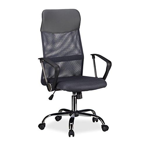 Relaxdays Bürostuhl, höhenverstellbarer Drehstuhl, ergonomisch, bequem, 90 kg belastbar, HxBxT: 125 x 65 x 65 cm, grau -