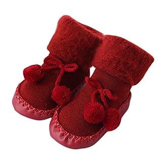 Auxma Babysocken, Baby Jungen Mädchen Socken Baumwolle Kinder Boden Socken Infant Rutschfeste Socken Schuhe Stiefel Slipper Socken für 0-24 Monate (13cm/12-18 M, rot)