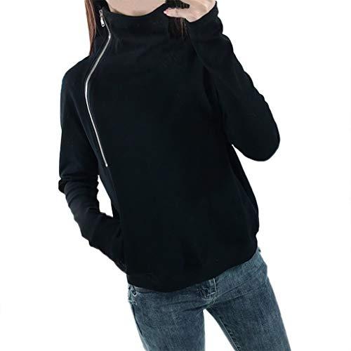 n Fester Reißverschluss langes Hülsen Sweatshirt Pullover übersteigt Hemd Einfarbiges Langarm-Kapuzenshirt mit Reißverschluss für Frauen(Schwarz,S) ()