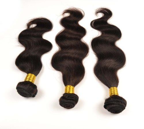 Lot de 3 trames d'extensions de cheveux péruviens 100 % naturels de tailles différentes 3 x 100 g 40 cm 45 cm 50 cm
