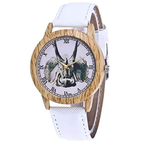 Damen Analog Quarz Uhr mit Leder Armband Armbanduhr Herren Quartz Analog Herren Lederband Uhren Weiß