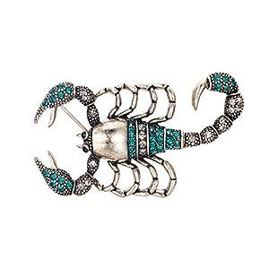 Clearine Damen Brosche Süß Kristall Skorpion Emaille Schal Clip Bekleidung Kleidung Anstecknadel Pin Rot/Blau Antik-Silber-Ton