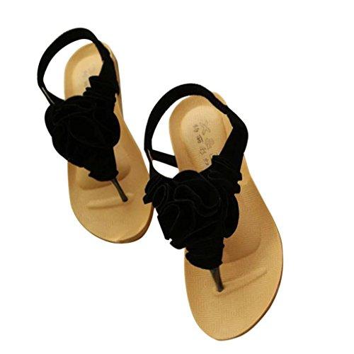 Koly_Scarpe Donna Summer Flower Boemia dolci dei sandali della punta della clip sandali della spiaggia Nero