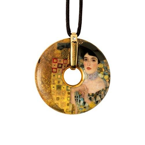 Goebel, Porzellan-Kette, Gustav Klimt, Adele Bloch Bauer, Vergoldet, Textilband mit Verschluss, Ø 5...
