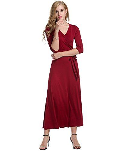 Meaneor Robe Femmes Longue Boho Moulante Florale Maxi Casual Col en V Manche 3/4 Robe de Plage