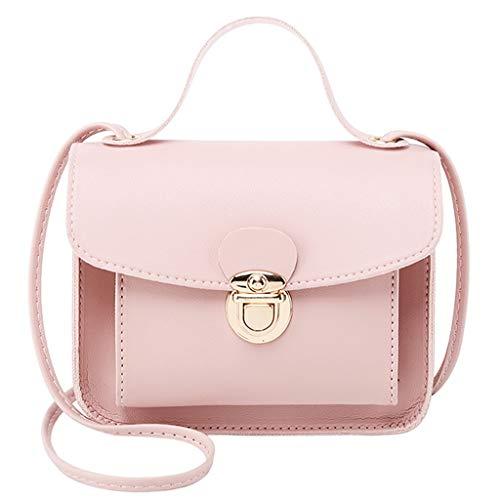COZOCO Frauen Mode Schultertaschen kleine Rucksack vielseitige Geldbörse Handy Messenger Bag Handytasche(rosa,)