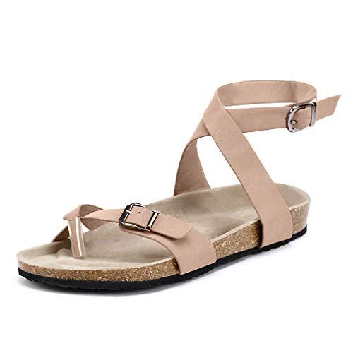 Damen Sandalen Flache Knöchel Schnalle Zehentrenner Flip Flop Sommerschuhe Leder Casual Elegant Schuhe Schwarz Braun Beige Gr.35-44 BG40 (Schnalle Verstellbare Sandale)