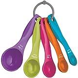 Lot de 5cuillères doseuses Wicemoon Multicolor Coque en silicone Cuisine outils de cuisson avec poignée en plastique et anneau de suspension