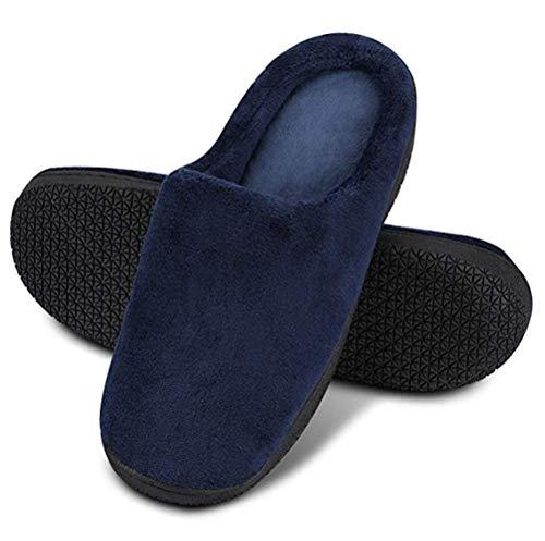 XTMA Herren- und Damen-Memory-Baumwolle-Hausschuhe Verbinden Bequeme Schuhe für Den Innen- und Außenbereich Flache Schuhe Rutschfeste Sohlen, Blau, EU 36/37