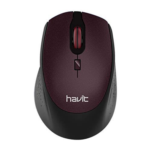 HAVIT Funkmaus 2.4G 2000 DPI 4 Tasten Kabellose Maus, 36 Monate Batterielaufzeit Optische Maus für PC/Tablet/Laptop/MacBook/Microsoft Pro, (Braun)