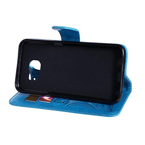Coque pour iPhone 5 5S 5G / iPhone SE,Housse en cuir pour iPhone 5 5S 5G / iPhone SE,Ecoway Motif de fleur de paon étui en cuir PU Cuir Flip Magnétique Portefeuille Etui Housse de Protection Coque Étu bleu