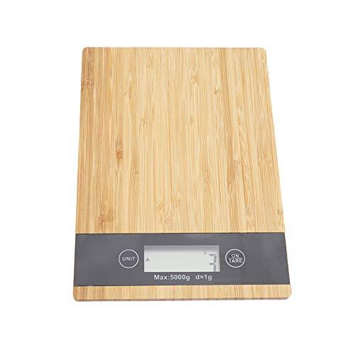 Presupuesto: Condición: 100% nuevo Material: Bambú + ABS Color marrón Tamaño: aprox. 23 * 16 * 2.2 cm / 9.05 * 6.29 * 0.86in Peso aproximado. 380g / 13.40oz Batería: 2 * Batería AAA (No incluye batería)  Lista de paquetes: 1 * Báscula de cocina (No i...