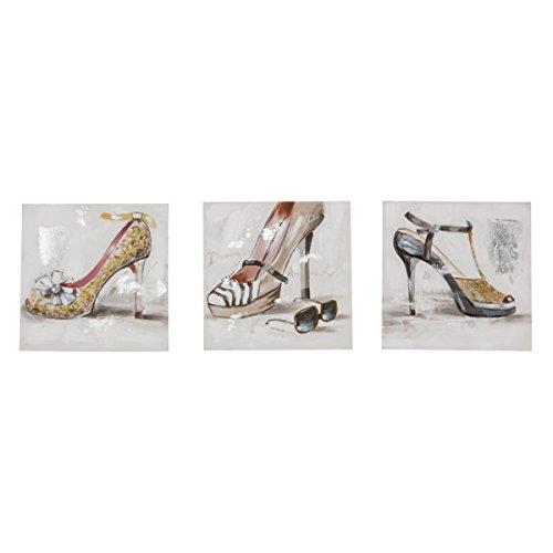 Bilder-Set 3-teilig Lovely Shoes - Leinwandbild Schuhe - Handgemalt - je ca. 30 x 30 cm