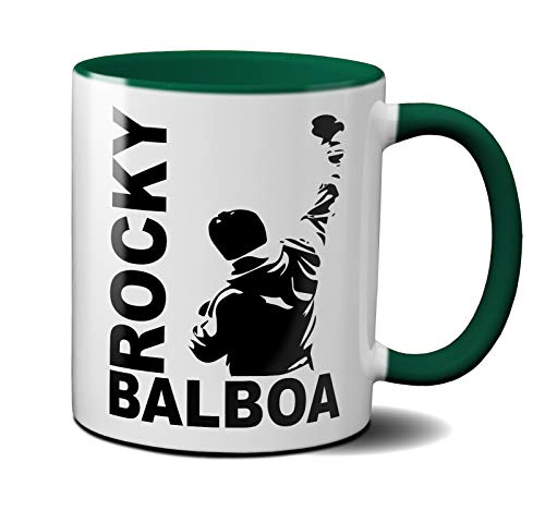 OM3® - Rocky-Balboa - Tasse | Keramik Becher | 11oz 325ml | Beidseitig Bedruckt | Grün -