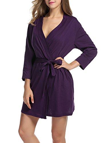Unibelle Damen Morgenmantel 3/4 Ärmel Bademantel Kimono Baumwolle Saunamantel Robe Negligee Mit V-Ausschnitt Lila XXL