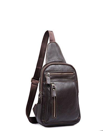 sifini echtes Leder Sling Bag Brust Pack daypackcross Body Tasche Brust Tasche Sling Schulter Rucksack Braun