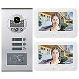 ASHATA Sistema videocitofonico, citofono Campanello videocitofono TFT HD a 2 Monitor da 7 Pollici, videocitofono videocitofonico per 2 Famiglie con Visione Notturna a infrarossi/Scheda RFID (UE)