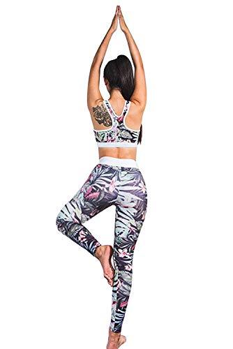 Donna tuta da ginnastica 2 pezzi crop top e pantaloni vita alta abbigliamento sportivo estivo stampa floreale tute aderenti ragazza senza maniche skinny salopette sportwear per yoga jogging fitness
