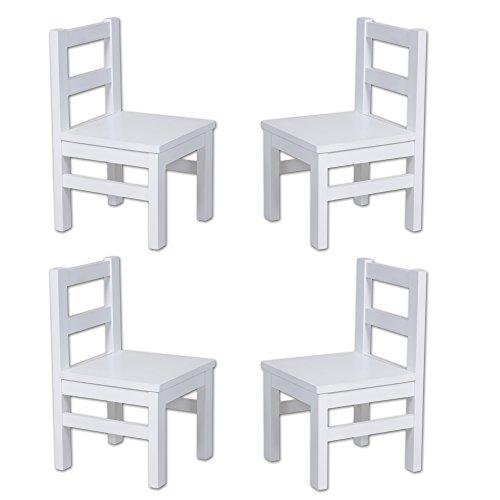 Vierer Set: Bubema Kinderstuhl aus massiver Buche, weiß lackiert, extra stabil (Erle-set Bett)