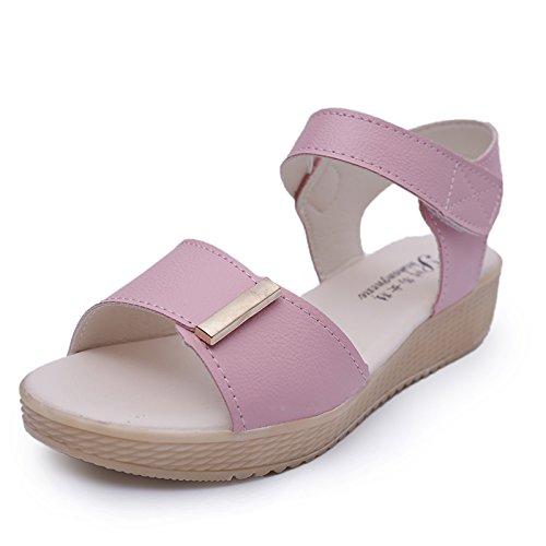 XY&GK Donna Sandali sandali estivi ragazze con le suole spesse scarpe semplice studente sandali scarpe comode All-Match marea piatta Pink