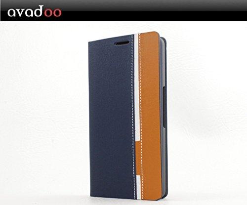 avadoo® Wiko Highway 4G Flip Case Cover in Blau-Braun mit Kartenschacht als Cover Tasche Hülle