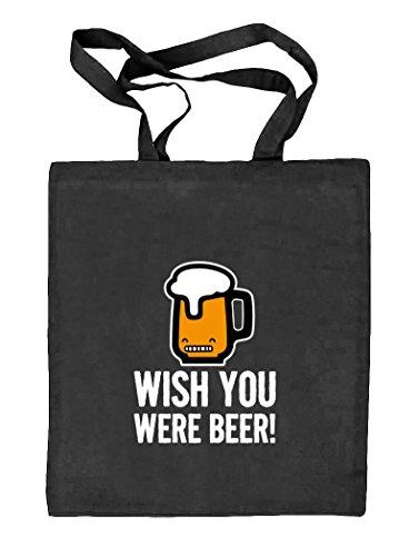 Shirtstreet24, Wish You Were Beer! Natur Stoffbeutel Jute Tasche (ONE SIZE) schwarz natur