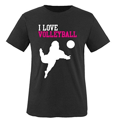 I Love Volleyball - Kinder T-Shirt - Schwarz/Weiss-Pink Gr. 152-164
