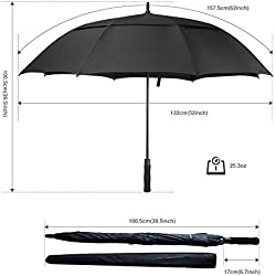 ACEIken Sombrilla de golf resistente al viento grande de 157,5 cm, doble toldo ventilado, apertura automática, extra grande, protección solar ultrarresistente a la lluvia y al viento, sombrilla, color negro