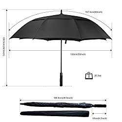 ACEIken Golf Umbrella Windproof Large 62 Inch, Double Canopy Vented, Automatic Open, Extra Large Oversized, Waterproof Sun Protection Ultra Rain & Wind Resistant Umbrellas, Black