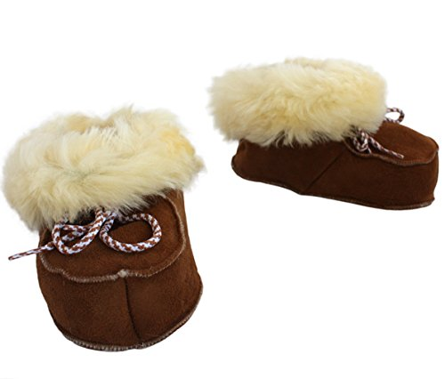 Sonia OriginelliBaby Lammfell Schuhe Stiefelchen Boots Kinder Krabbelschuhe Schaffell B300B (20, Grau) Braun