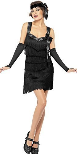 Damen Schwarz 1920s Fever Foxy Flapper Mädchen 20er Jahrzehnte Gangster Pöbel Mafia Charleston Kostüm Kleid Outfit - Schwarz, 12-14 (Jahrzehnte Kostüme Für Kinder)