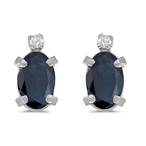 14K Or Blanc Saphir ovale et diamant Boucles d'oreilles (1.20ct Sterling)