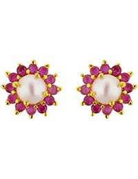 71986fda0e4f5 Sri Jagdamba Pearls Red Rose Pearl Earrings For Women