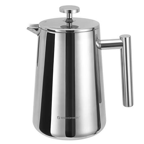 SONGMICS Kaffeebereiter 1L, French Press aus Edelstahl, für 6 Tassen, thermoisoliert durch doppelwandiges Behälter, inkl. 2 Ersatzfilter GCP13S