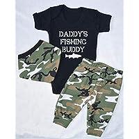Daddy's Fishing Buddy Army Vest Pants and Bandana bib Set Babygrow New Baby Gifts Newborn baby Gifts Personalised Babywear Cute Babywear