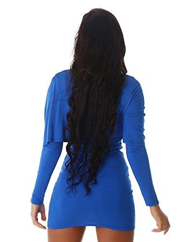 24brands Damen Longshirt langarm Sexy Kleid Oberteil Lagen-Look Shirt Bolero Tunika Minikleid -3178 Royalblau