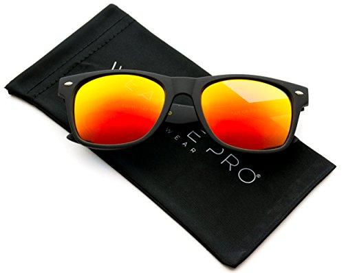 WearMe Pro Hochwertige Polarisierende Hornbrille Matter Rahmen Verspiegelte Gläser Sonnenbrille