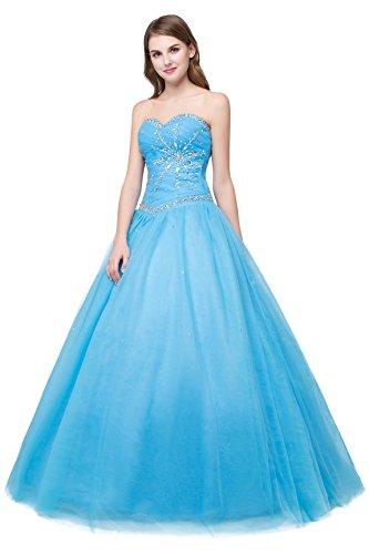 NUOJIA Damen Schatz-Ausschnitt Kristall Ballkleid Quinceanera Kleider Blau Ballkleider Lang Prinzessin (36, Blau)