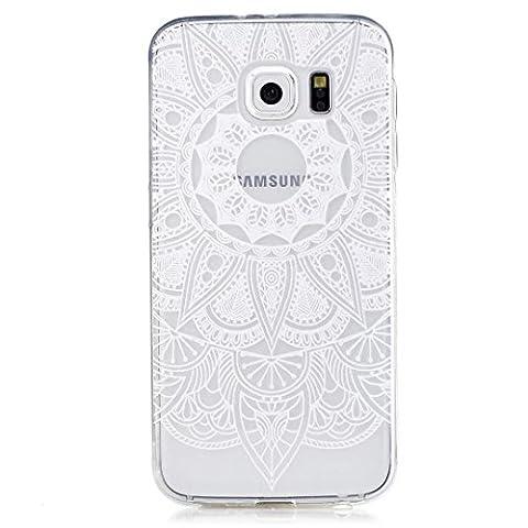 KSHOP TPU Silikon Hülle für Samsung Galaxy S6 Handyhülle Schale Etui Protective Case Cover dünn mit Drucken Muster - indische Mandala sonne Blume Weiß