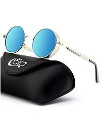 bdcd94bcd8900 CGID E72 Steampunk estilo retro inspirado círculo metálico redondo gafas de sol  polarizadas para hombres