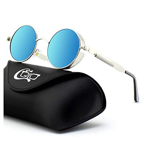 CGID Retro Sonnenbrille im Steampunk Stil, runder Metallrahmen, polarisiert, für Frauen und Männer, E72, A4 Silber Blau, Einheitsgröße