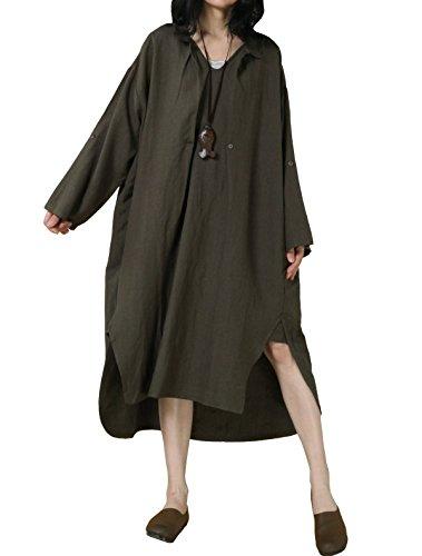 Vogstyle Damen Plus Größe Baumwollleinen Einschultriges Shirt Kleider XL Grün (T-shirt Kleid Leinen)