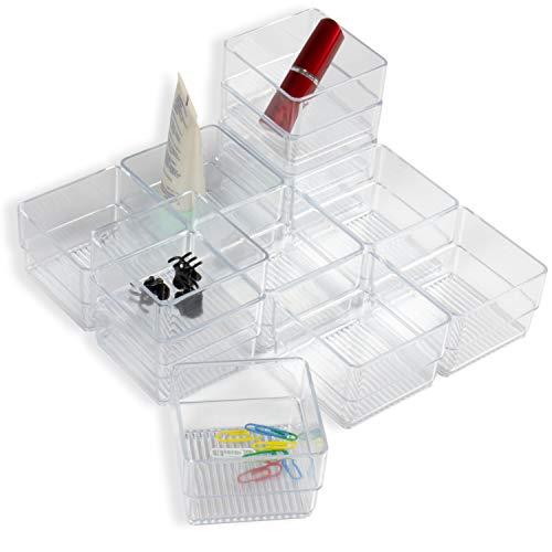 Br-kosmetik (Hausfelder ORDNUNGSLIEBE Kleinteile Organizer Ordnungssystem - zur Aufbewahrung für Küche Büro Schminktisch Kosmetik, variabel und transparent aus Kunststoff (Set E (12-teilig)))