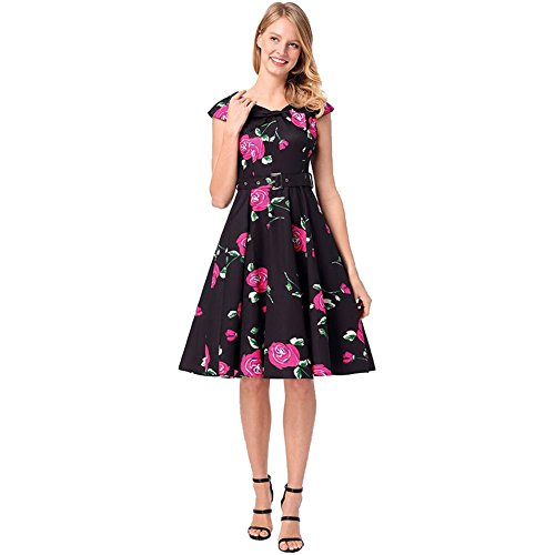 frauen kleid rose blumen gedruckt belted retro baumwolle abend cocktail party prom kurzen rock s-xxl . rose red . l (Shorts Orange Belted)